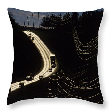 Highway Sunset Throw Pillow