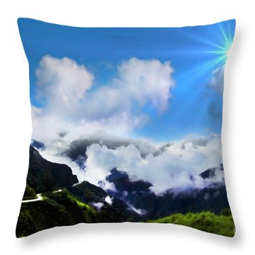 Highway Through The Andes - Painting Throw Pillow by Al Bourassa