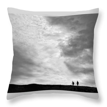 Throw Pillow featuring the photograph Hikers Under The Clouds by Joe Bonita