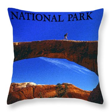 Hiking Arches Throw Pillow by David Lee Thompson
