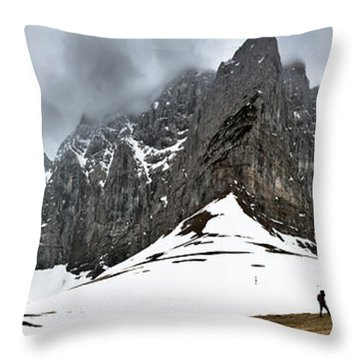 Hiking In The Alps Throw Pillow