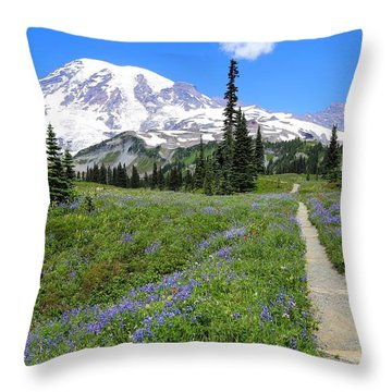 Hiking In The Wildflowers Throw Pillow