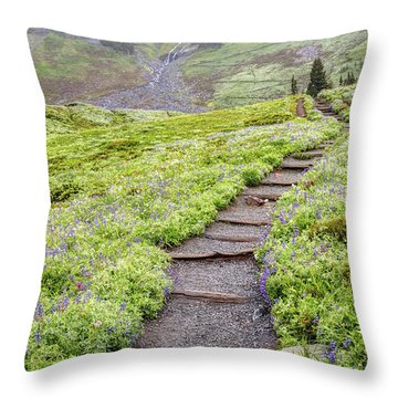 Throw Pillow featuring the photograph Hiking Mount Rainier In The Fog by Pierre Leclerc Photography