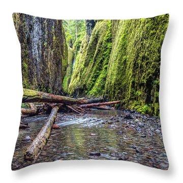 Hiking Oneonta Gorge Throw Pillow