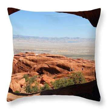 Hiking Through Arches Throw Pillow by David Lee Thompson