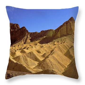 Hiking To Zabriskie Point Throw Pillow