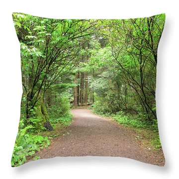 Hiking Trail Along Lewis And Clark River Throw Pillow