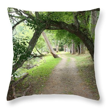 Hiking Trail And Road Throw Pillow