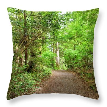 Hiking Trail Through Forest Along Lewis And Clark River Throw Pillow