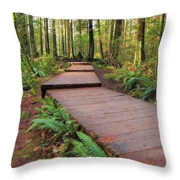 Hiking Trail Wood Walkway In Lynn Canyon Park Throw Pillow