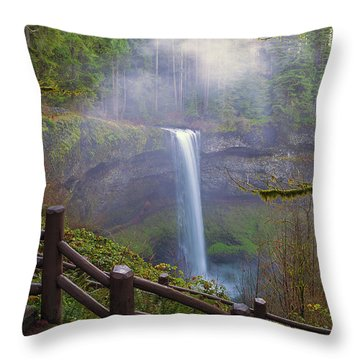 Hiking Trails At Silver Falls State Park Throw Pillow