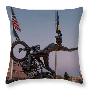 Hill Climber Catches The Moon Throw Pillow by Randy Scherkenbach