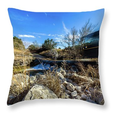 Hill Country Back Road Long Exposure #2 Throw Pillow by Micah Goff