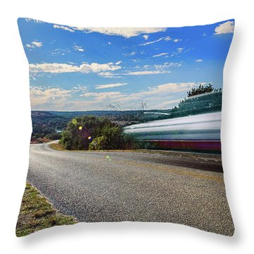 Hill Country Back Road Long Exposure Throw Pillow