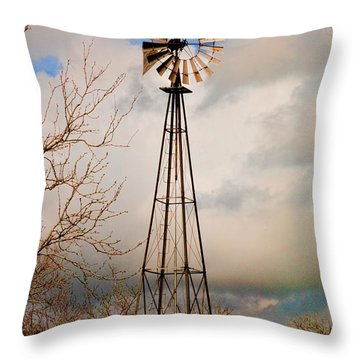 Throw Pillow featuring the photograph Hill Country Windmill by Michael Flood