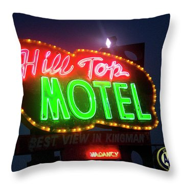Throw Pillow featuring the photograph Hill Top Motel by Matthew Bamberg
