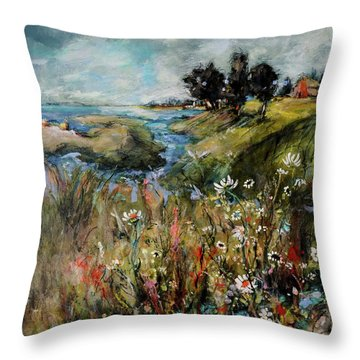 Hill Top Wildflowers Throw Pillow by Sharon Furner