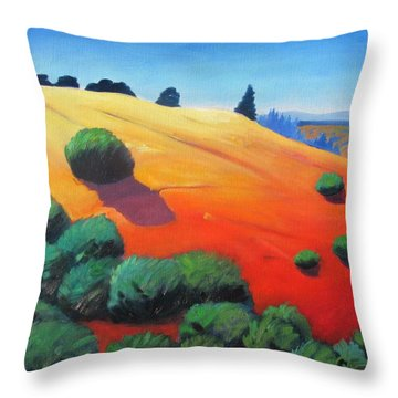 Throw Pillow featuring the painting Hills And Beyond by Gary Coleman