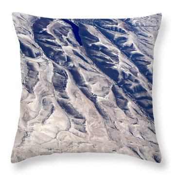 Hills And Valleys Aerial Throw Pillow by Carol Groenen