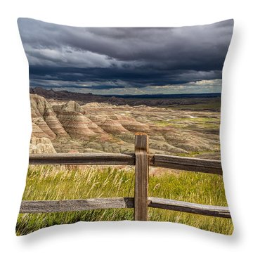 Hills Behind The Fence Throw Pillow