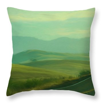Hills In The Early Morning Light Digital Impressionist Art Throw Pillow