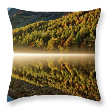 Hills In The Mist Throw Pillow