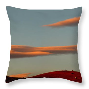 Hills Under The Sunset Clouds Of Sonoma County California Throw Pillow by Wernher Krutein