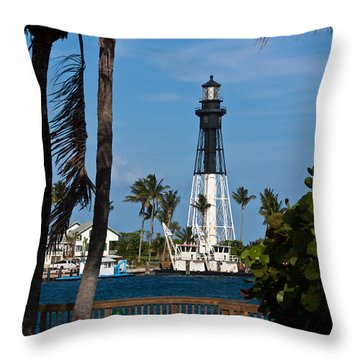 Hillsboro Inlet Lighthouse And Park Throw Pillow