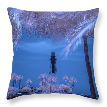 Throw Pillow featuring the photograph Hillsboro Inlet Lighthouse Infrared by Louis Ferreira