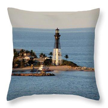 Hillsboro Lighthouse In Florida Throw Pillow
