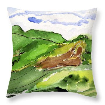 Hillside And Clouds Throw Pillow