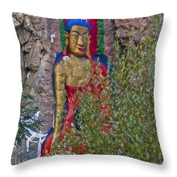 Throw Pillow featuring the photograph Hillside Buddha by Alan Toepfer