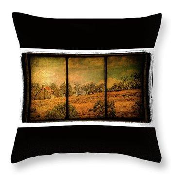 Hillside Farm Scene Triptych Throw Pillow