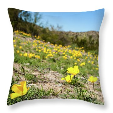 Hillside Flowers Throw Pillow by Ed Cilley