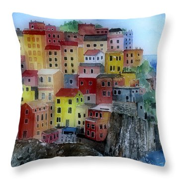 Hillside Homes Throw Pillow by Arline Wagner