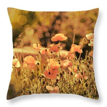 Hillside Poppies And Sunset Throw Pillow
