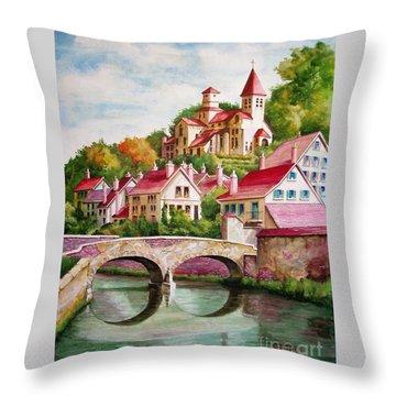 Hillside Village Throw Pillow by Charles Hetenyi