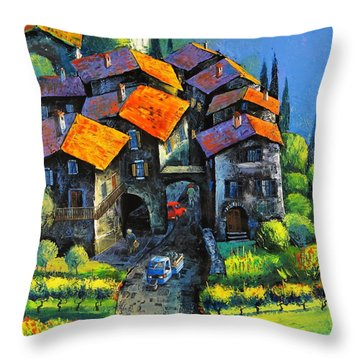 Hilltop Willage Throw Pillow