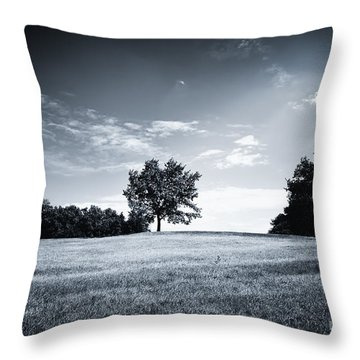Hilly Black White Landscape Throw Pillow
