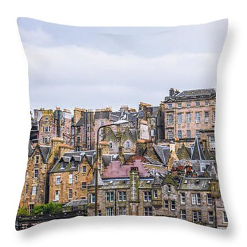 Hilly Skyline Of Edinburgh Throw Pillow