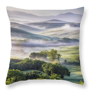 Hilly Tuscany Valley At Morning Throw Pillow by Evgeni Dinev