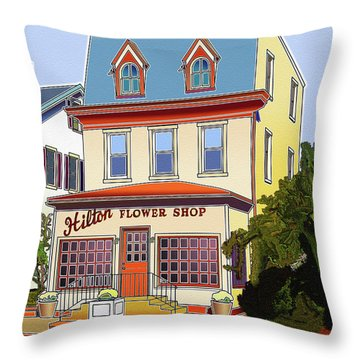 Hilton Flower Shop Throw Pillow by Stephen Younts