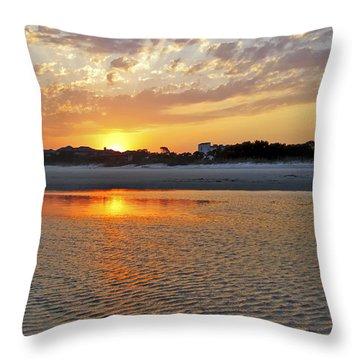 Hilton Head Beach Throw Pillow by Phill Doherty