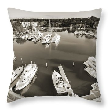 Hilton Head Harbor Town Yacht Basin 2012 Throw Pillow by Dustin K Ryan