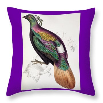 Himalayan Monal Pheasant Throw Pillow by John Gould