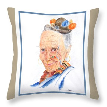 Himalayan Smile Lines -- Portrait Of Old Asian Woman Throw Pillow