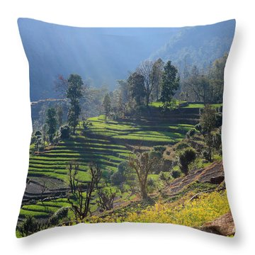 Himalayan Stepped Fields - Nepal Throw Pillow