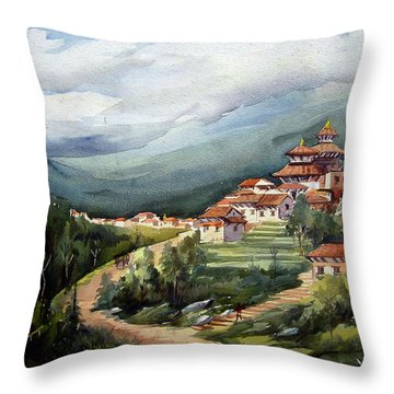 Throw Pillow featuring the painting Himalayan Village  by Samiran Sarkar