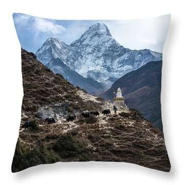 Throw Pillow featuring the photograph Himalayan Yak Train by Mike Reid