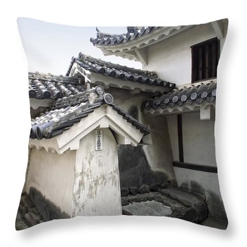Himeji Castle Roofs And Gables - Japan Throw Pillow